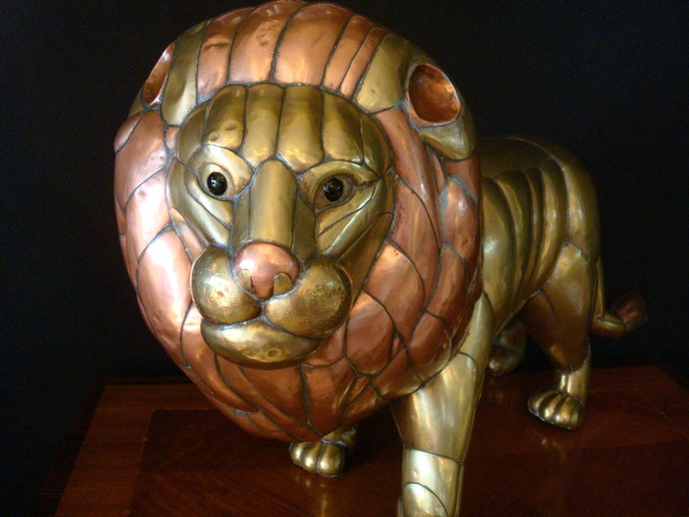 Sergio Bustamante Copper and Brass Lion Sculpture Mexico, 1970s For Sale 3