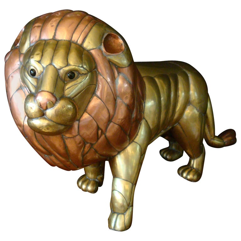 Sergio Bustamante Copper and Brass Lion Sculpture Mexico, 1970s For Sale