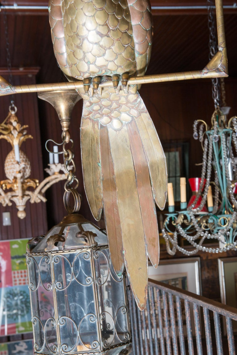 Mexican Sergio Bustamante Copper & Brass Parrot on a Swing For Sale