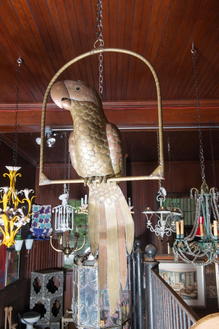 Sergio Bustamante Copper & Brass Parrot on a Swing For Sale 2