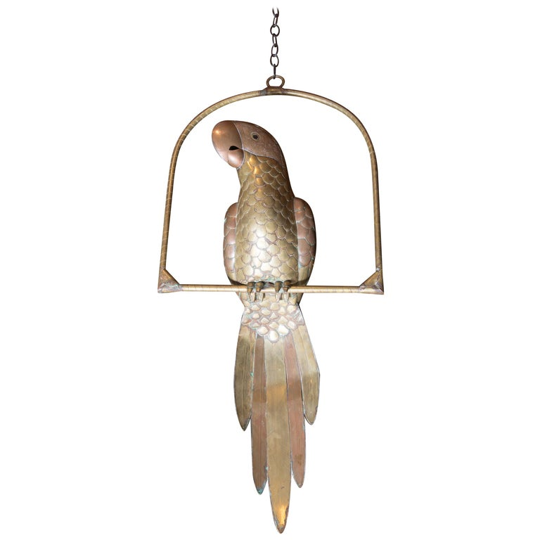 Sergio Bustamante Copper & Brass Parrot on a Swing For Sale