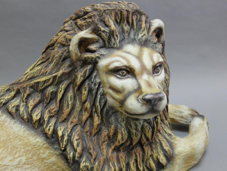 Sergio Bustamante (20th century, Mexican) life sized paper mache lion from the early years of his Family Workshop Studio in Tlequepaque, Jalisco, Mexico, c. 1975  Signed in back,