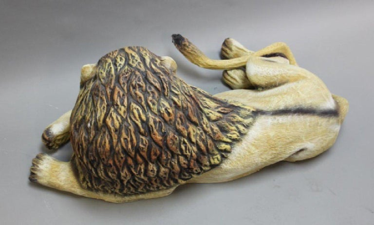 Folk Art Sergio Bustamante Early Lion Sculpture Hand-painted, 1975 For Sale