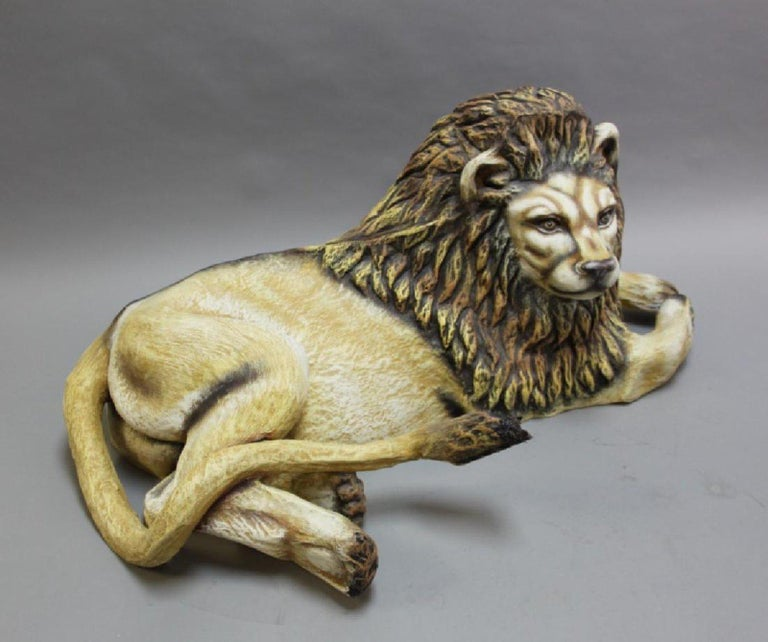 Mexican Sergio Bustamante Early Lion Sculpture Hand-painted, 1975 For Sale