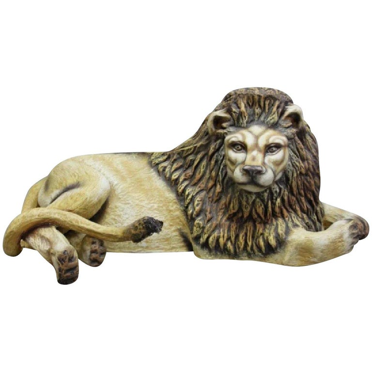 Sergio Bustamante Early Lion Sculpture Hand-painted, 1975 For Sale