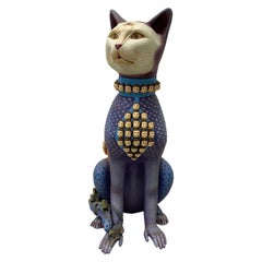 Sergio Bustamante Large Scale Surreal Cat Ceramic Sculpture