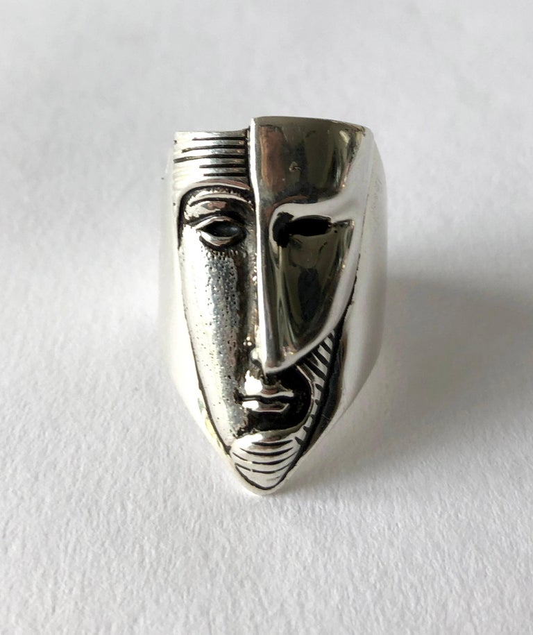 Artisan Sergio Bustamante Modernist Sterling Silver Masked Face Ring For Sale