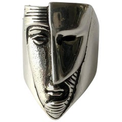 Sergio Bustamante Modernist Sterling Silver Masked Face Ring