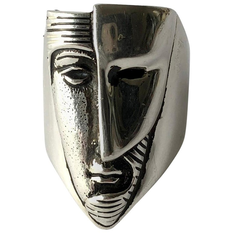 Sergio Bustamante Modernist Sterling Silver Masked Face Ring For Sale