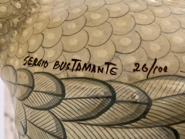 Folk Art Sergio Bustamante Oversized Papier Mâché Cockatoo on Hanging Brass Perch For Sale