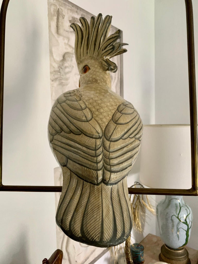Mexican Sergio Bustamante Oversized Papier Mâché Cockatoo on Hanging Brass Perch For Sale