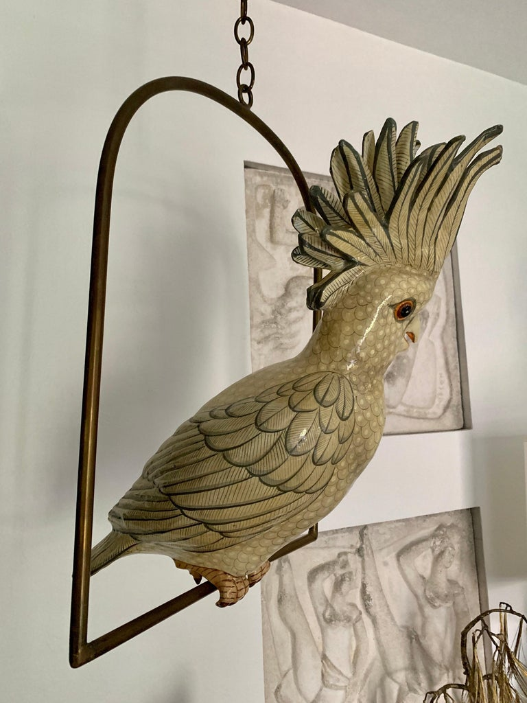 Sergio Bustamante Oversized Papier Mâché Cockatoo on Hanging Brass Perch In Good Condition For Sale In East Hampton, NY