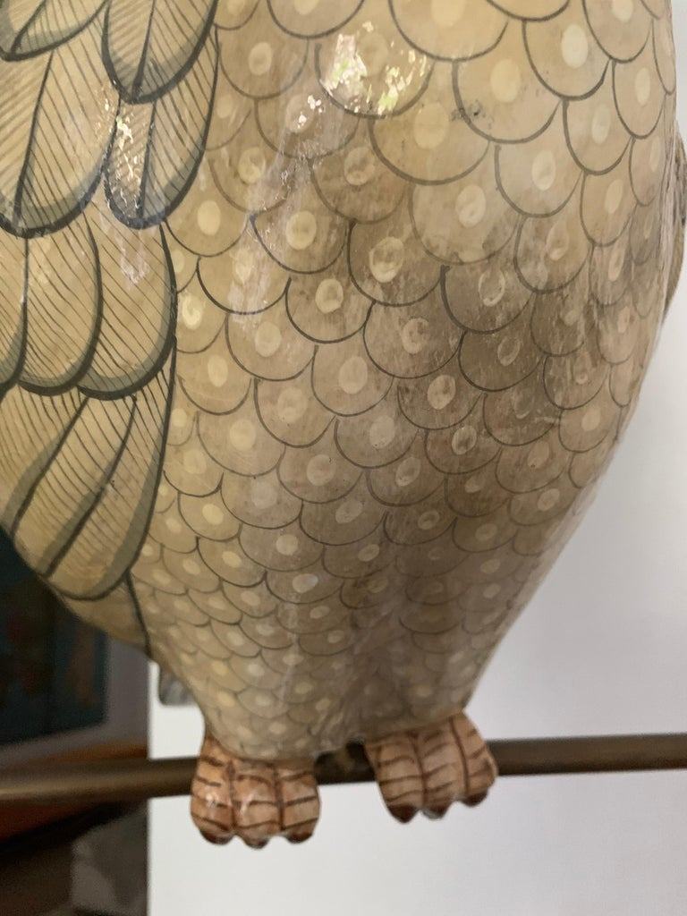 Late 20th Century Sergio Bustamante Oversized Papier Mâché Cockatoo on Hanging Brass Perch For Sale