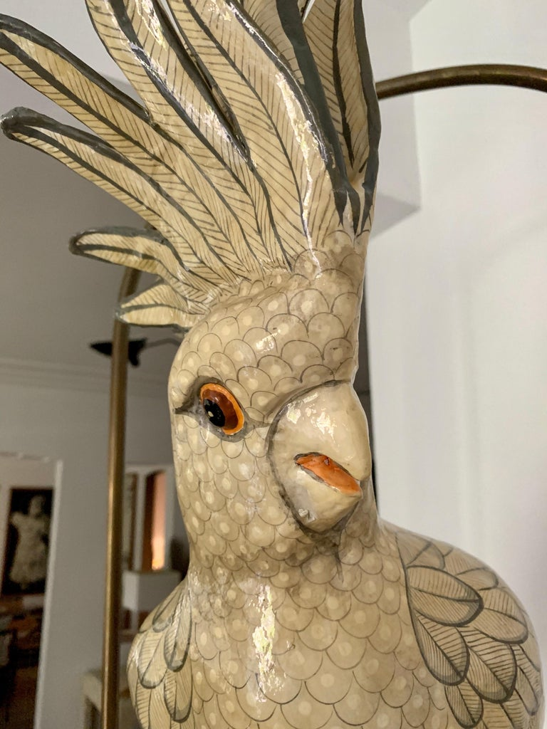 Sergio Bustamante Oversized Papier Mâché Cockatoo on Hanging Brass Perch For Sale 1