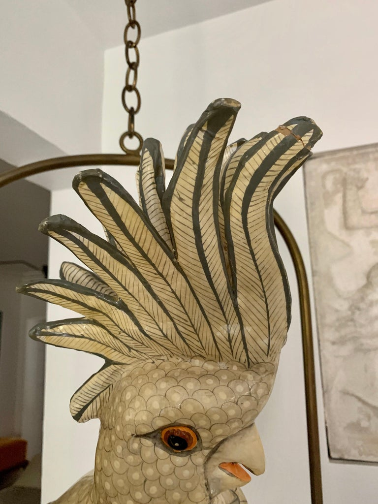 Sergio Bustamante Oversized Papier Mâché Cockatoo on Hanging Brass Perch For Sale 2