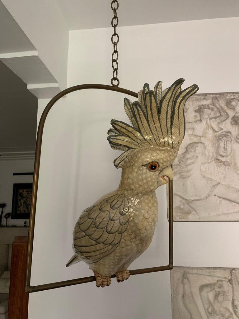 Sergio Bustamante Oversized Papier Mâché Cockatoo on Hanging Brass Perch For Sale 3