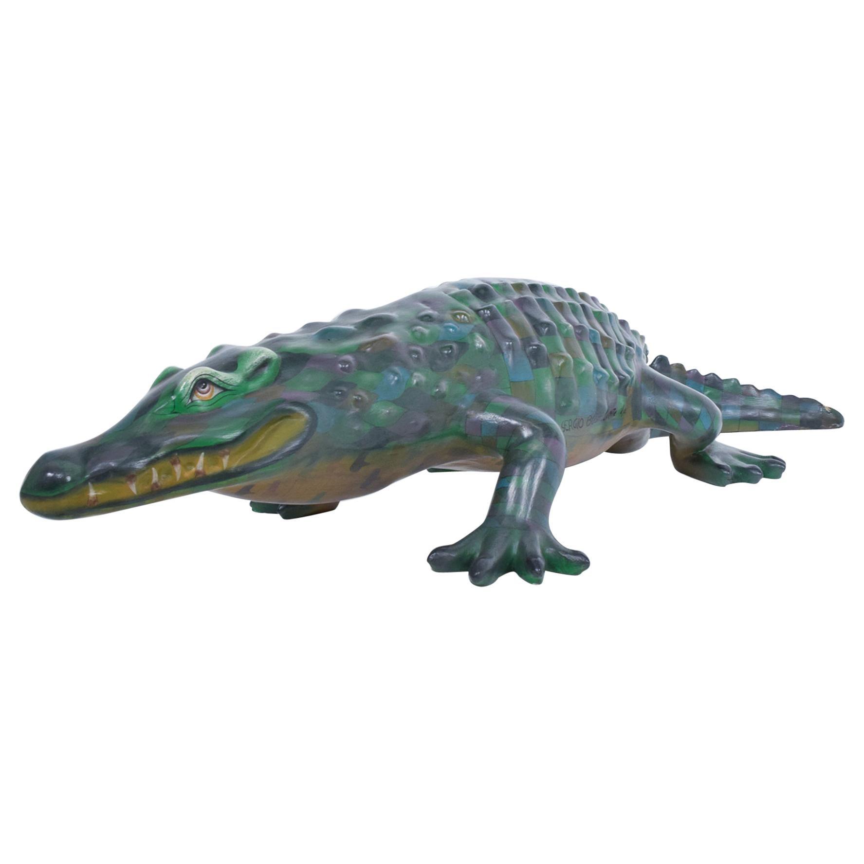 Sergio Bustamante Paper Mâché Colorful Crocodile Sculpture Mexico 1970s