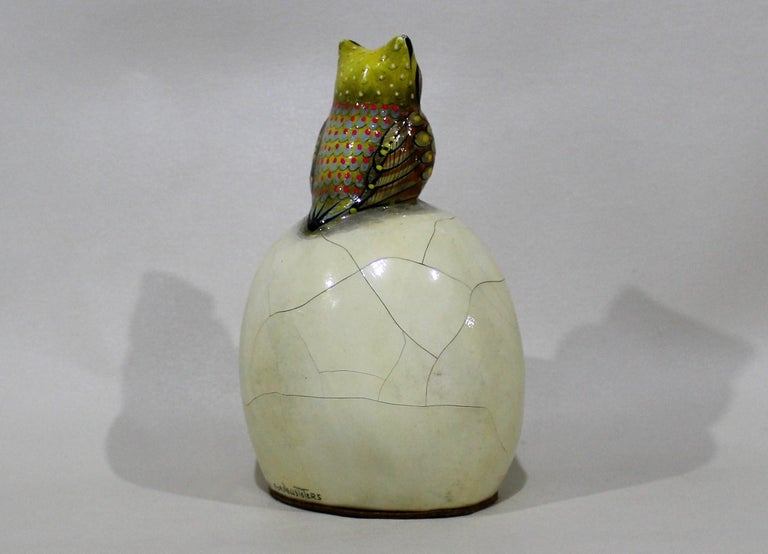 Mid-Century Modern Sergio Bustamante Papier-mâché Sculpture of Owl Sitting Atop Eyeball For Sale