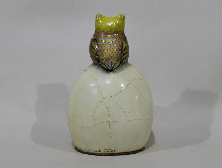 Mexican Sergio Bustamante Papier-mâché Sculpture of Owl Sitting Atop Eyeball For Sale