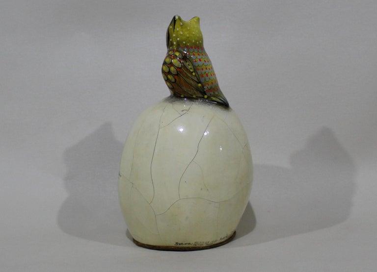 Sergio Bustamante Papier-mâché Sculpture of Owl Sitting Atop Eyeball In Fair Condition For Sale In Hamilton, Ontario