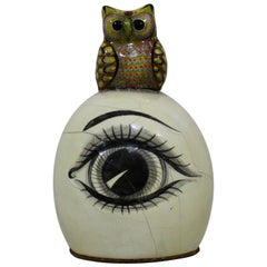 Sergio Bustamante Papier-mâché Sculpture of Owl Sitting Atop Eyeball