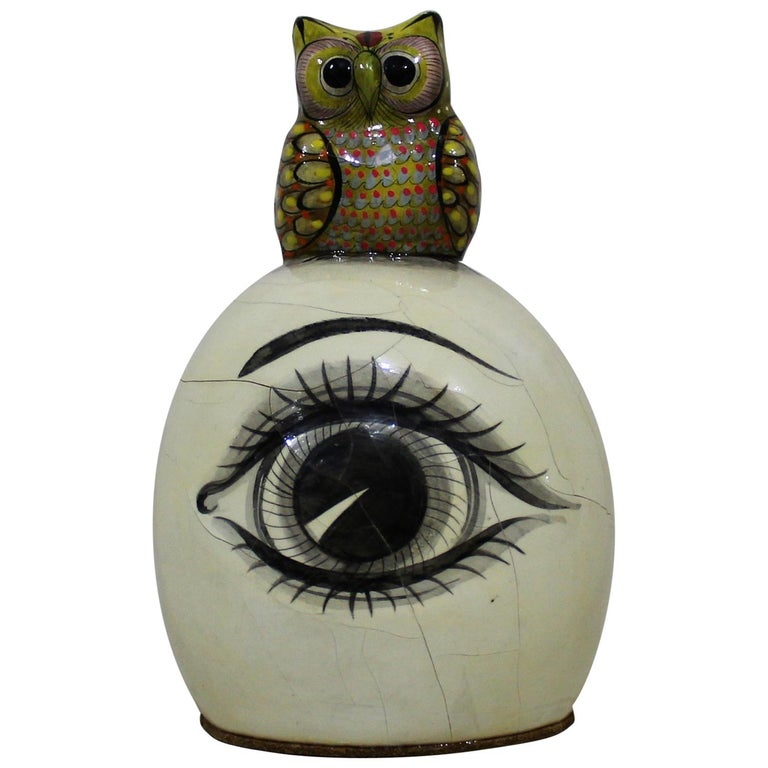 Sergio Bustamante Papier-mâché Sculpture of Owl Sitting Atop Eyeball For Sale