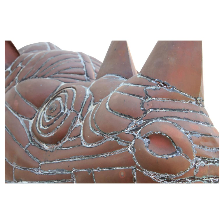 Modern Abstract Rhino Head Metal Sculpture For Sale 4