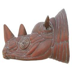 Modern Abstract Rhino Head Metal Sculpture