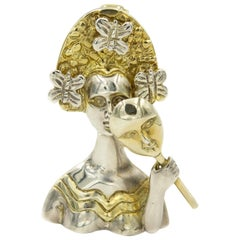Sergio Bustamante Silver Vermeil Woman's Face Mask Butterfly Pendant Brooch Pin
