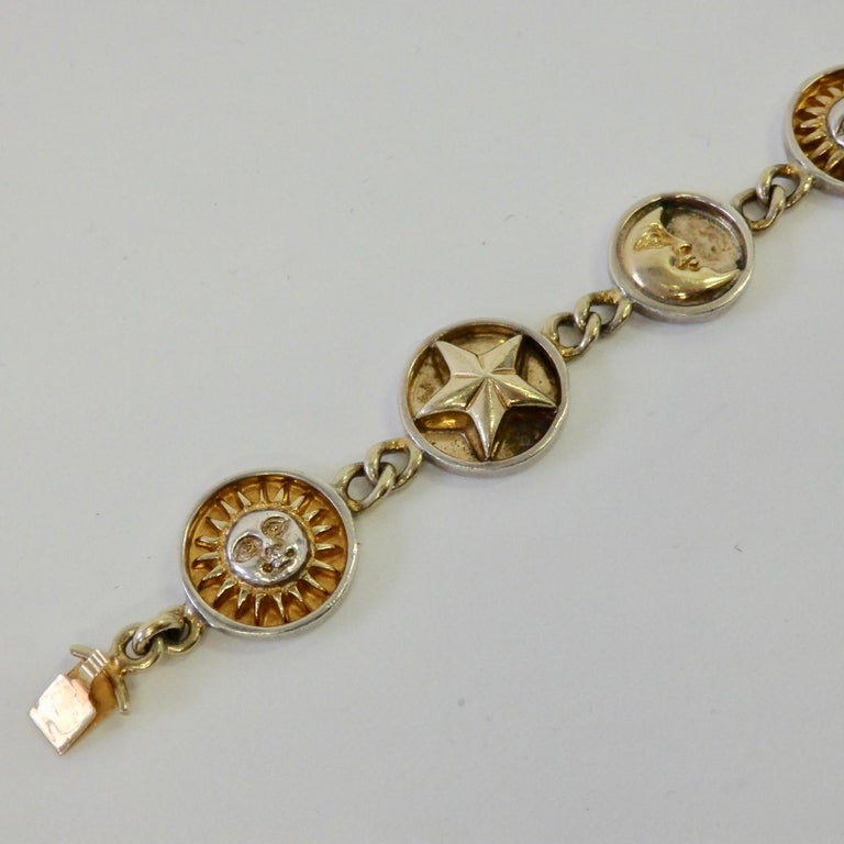 Mexican Sergio Bustamante Sterling Silver Sun Moon Stars Bracelet For Sale