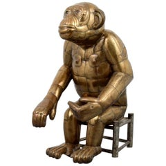 Sergio Bustamante Tall Brass Monkey and Chair, 1970s, Signed