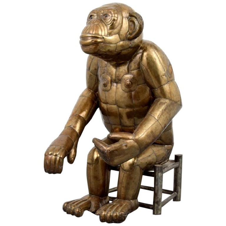 Sergio Bustamante Tall Brass Monkey and Chair, 1970s, Signed For Sale