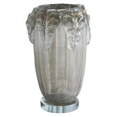 Sergio Costantini, Pair of Gray Murano Vases with Acanthus Leaf Detail, Signed
