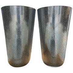 Sergio Costantini, Pair of Silver Vase, circa 1980