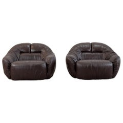 Sergio Crippa Set of Two Otaria Armchairs in Brown Leather Neoflex Italy 1970