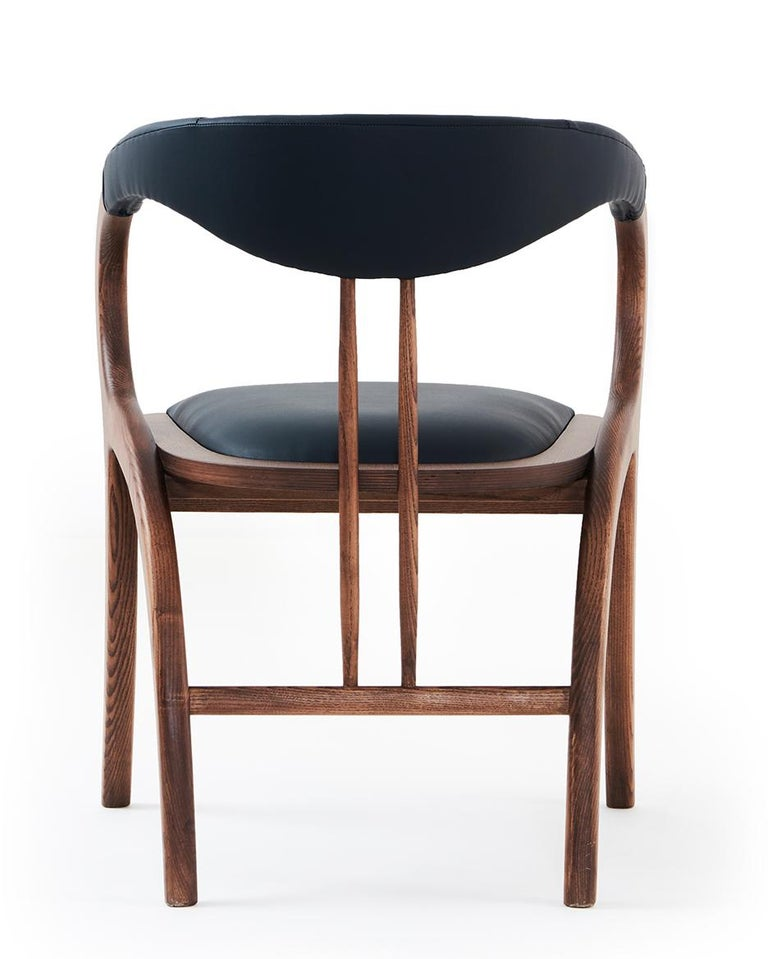 Modern Contemporary Chair, Walnut Color/Black Faux Leather- Set of 6 For Sale
