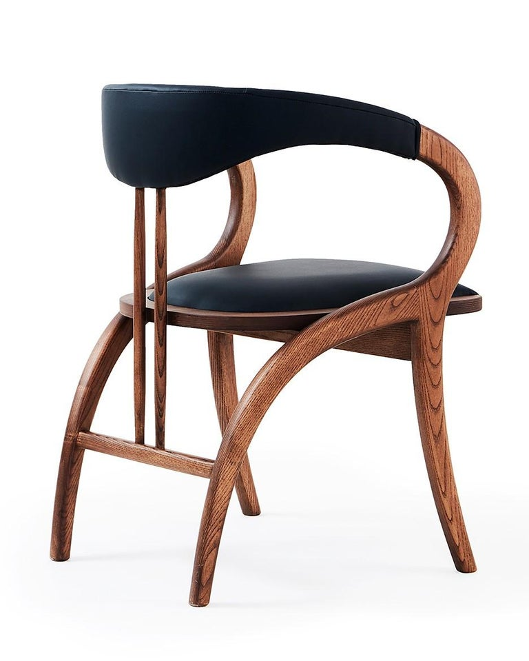 Portuguese Contemporary Chair, Walnut Color/Black Faux Leather- Set of 6 For Sale
