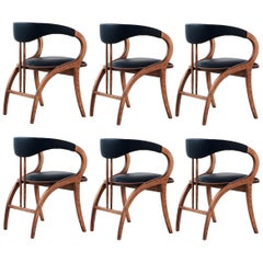 Sérgio Dining Chair, Walnut Frame Upholstered in Black Leather, Set of 6