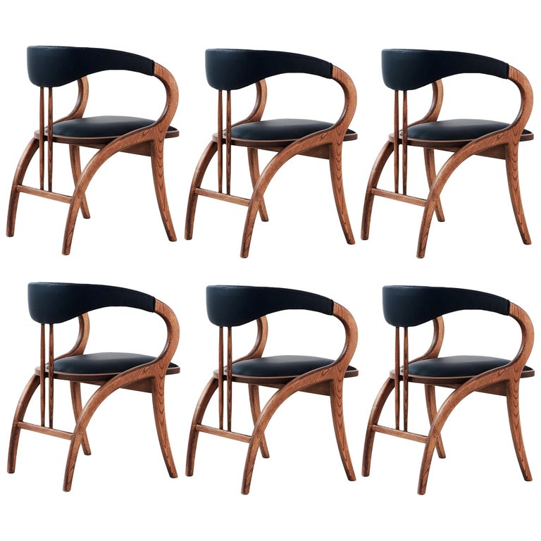 Contemporary Chair, Walnut Color/Black Faux Leather- Set of 6 For Sale