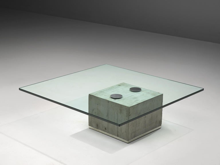 Sergio & Giorgio Saporiti for Saporiti, coffee table 'Sapo', glass, concrete, chromed steel, Italy, 1972