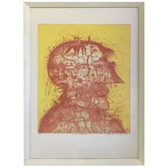 Sergio Gonzalez-Tornero Chilean Signed Aquatint Etching Portrait of the Artist