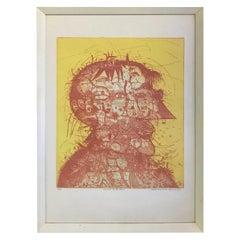 Sergio Gonzalez-Tornero Chilean Signed Aquatint Etching Portrait of the Artist