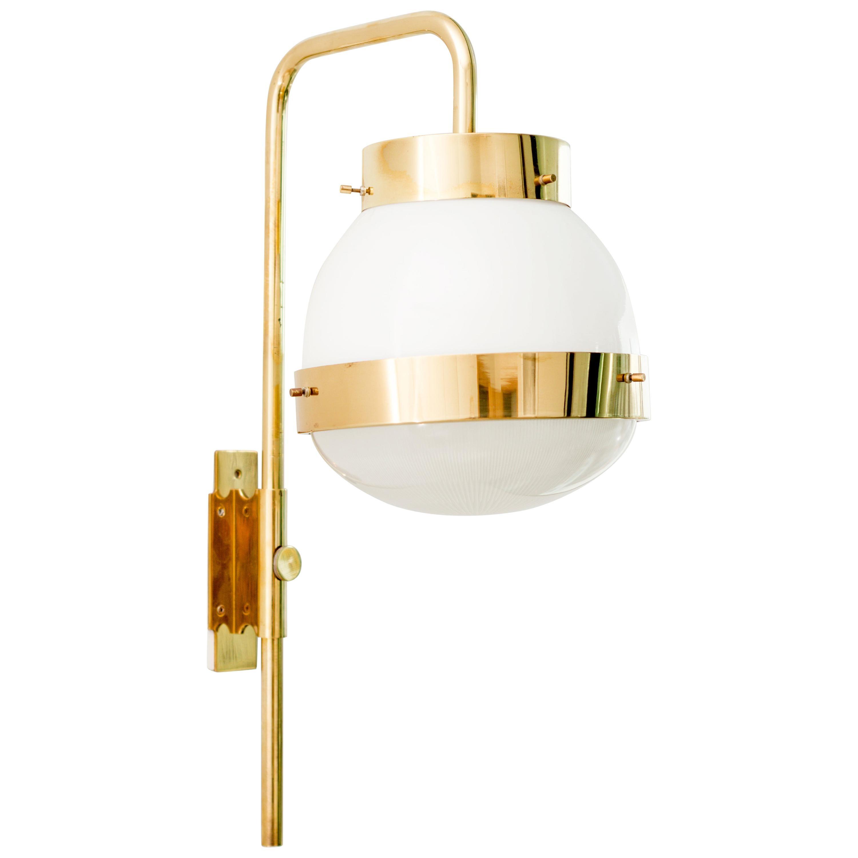 "Sergio Mazza 1960s Brass and Glass ""Delta"" Sconce for Artemide"