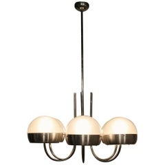 Sergio Mazza Chandelier Metal and Glass, Italy, 1960s