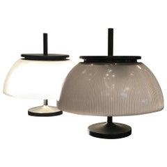 Sergio Mazza Couple Table Lamp Metal Crome Glass, 1960, Italy