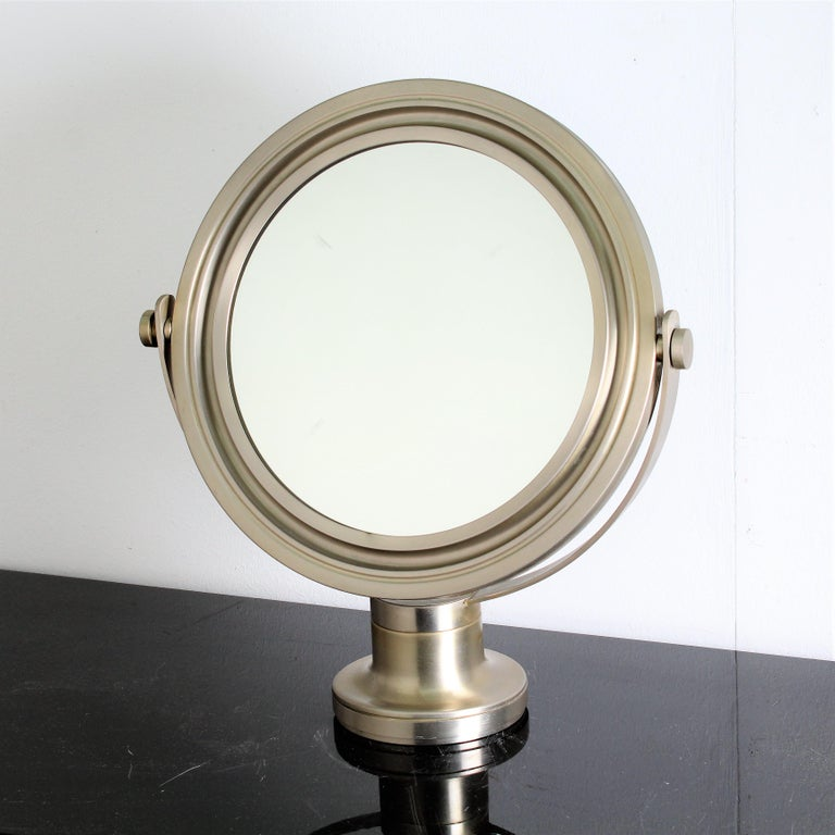Sergio Mazza Midcentury Brass and Nickel Table Mirror for Artemide, 1960s   Swivel nickel-plated and sanitized brass table mirror designed by Sergio Mazza for Artemide in 1960 circa. Original patina. In good conditions, wear consistent with age and