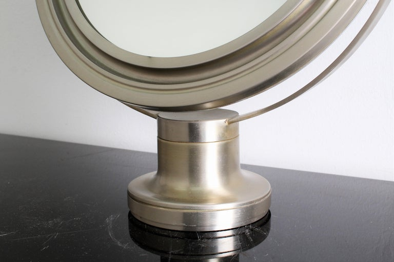 Plated Sergio Mazza for Artemide 1960s Modern Design Table Mirror For Sale