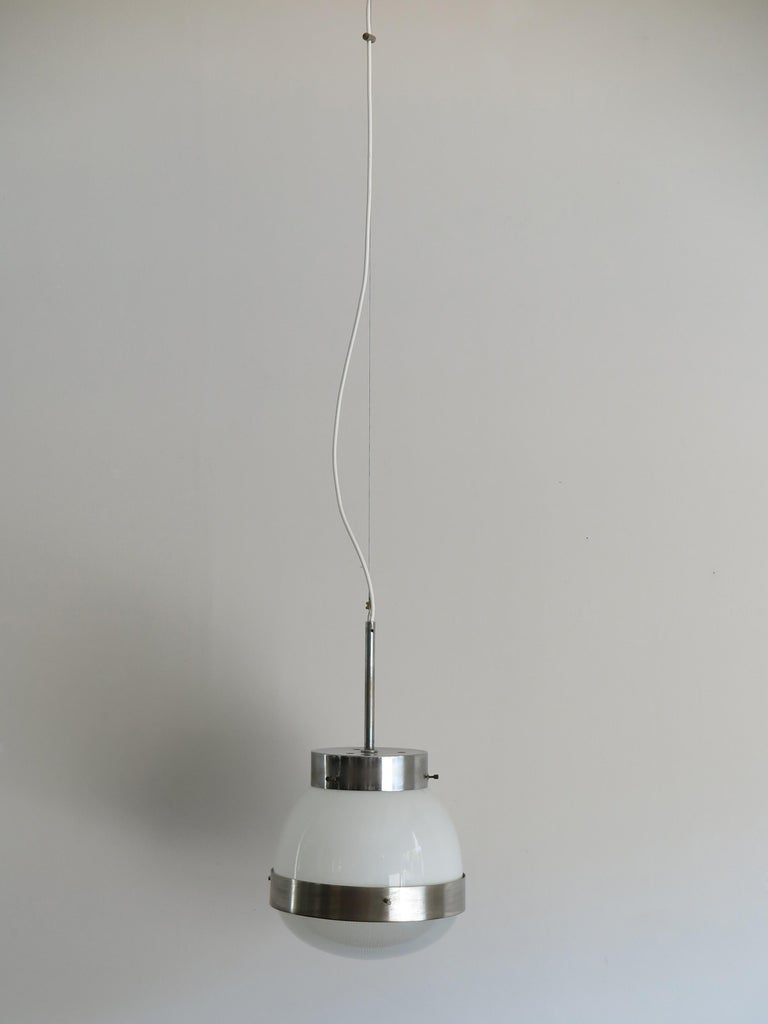 Mid-Century Modern Sergio Mazza for Artemide Italian Glass Pendant Lamp, 1960s For Sale