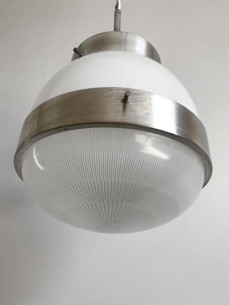 Metal Sergio Mazza for Artemide Italian Glass Pendant Lamp, 1960s For Sale