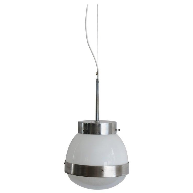 Sergio Mazza for Artemide Italian Glass Pendant Lamp, 1960s For Sale